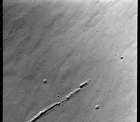 An image of a lava tube on Mars' Alba Mons, from NASA's Viking Orbiter. Image Credit: NASA