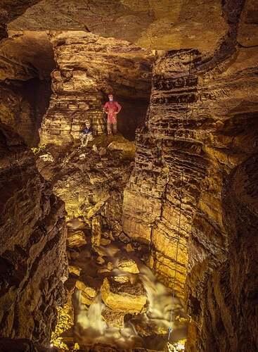 Caver Kirk Moorhead (left) and Ackerman in Holy Grail Cave in 2017