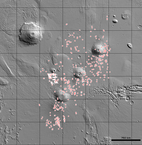 This is a map of lave cave candidates in the post-volcanic Tharsis Region on Mars. Image Credit: USGS/Mars Global Cave Candidate Catalog.