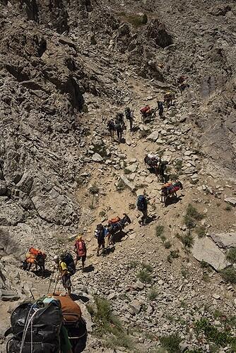 The team hiking into the Baisun mountain range © Robbie Shone