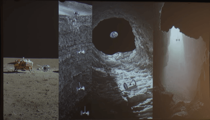 Four panels from a video presentation on the Moon Diver concept. Image Credit: KISSCaltech