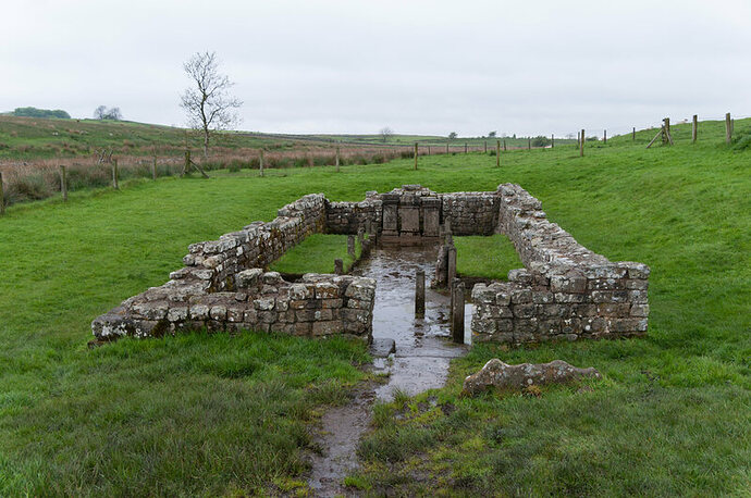 Ruins of a Mithraeum in Carrawburgh, an English settlement that once held a Roman fort along Hadrian's Wall.