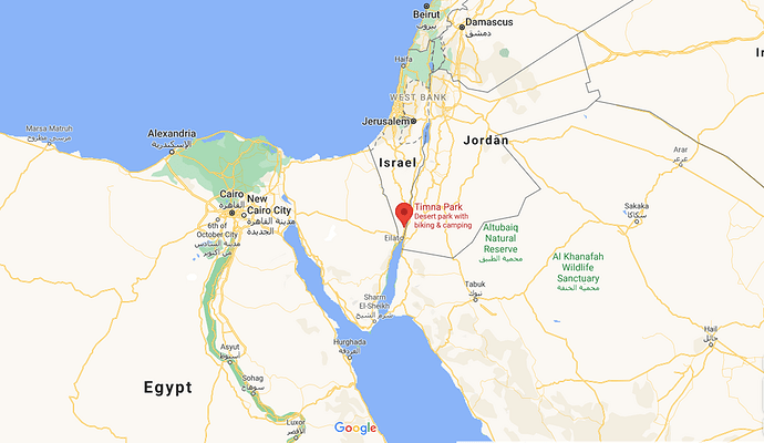 Timna Valley is located in the south of Israel, about 30 kilometres north of the Gulf of Aqaba and the city of Eilat.