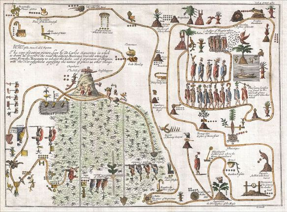 """Gemelli Careri's map of the Aztec migration from Aztlan to Chapultapec from """"Voyage Round the World"""", 1704 / wikimedia"""