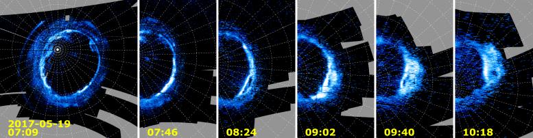 Evolution of a Dawn Storm in Jupiter's Polar Auroras