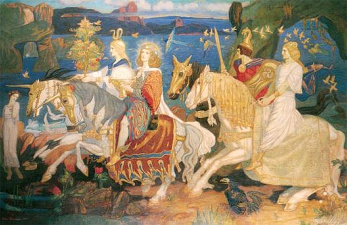 """The Tuatha Dé Danann as depicted in John Duncan's """"Riders of the Sidhe"""" (1911)"""