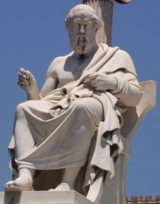 Plato sculpture in the modern Academy of Athens / wikimedia