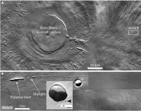 This figure from the study shows some tubes, vents, and skylights on the Arsia Mons volcano on Mars. Image Credit: Pozzobon et al, 2020.