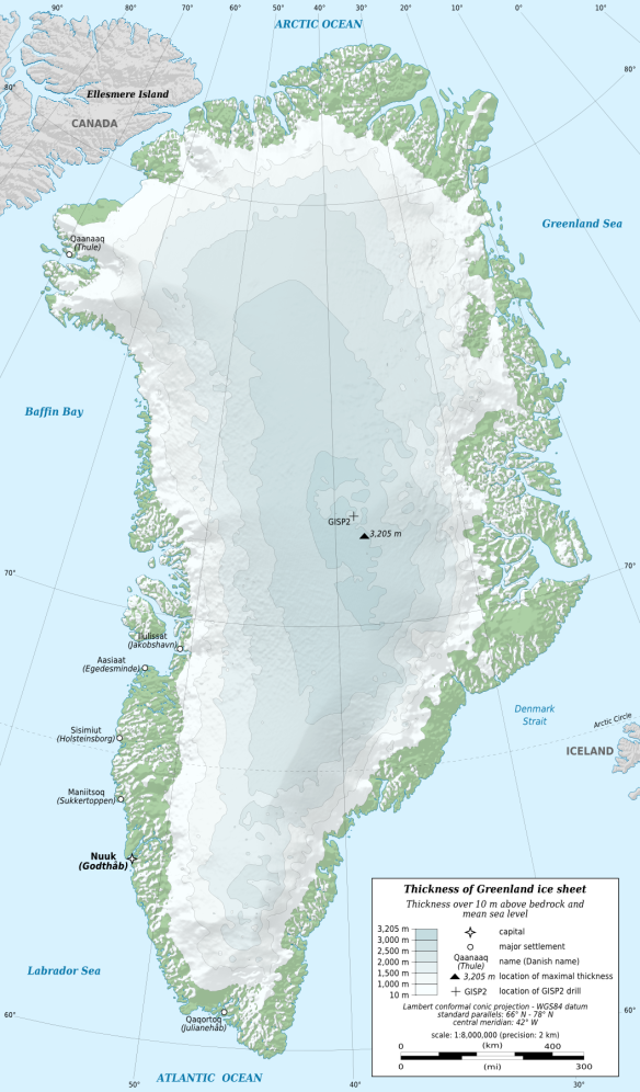 Greenland ice sheet thickness, by Eric Gaba