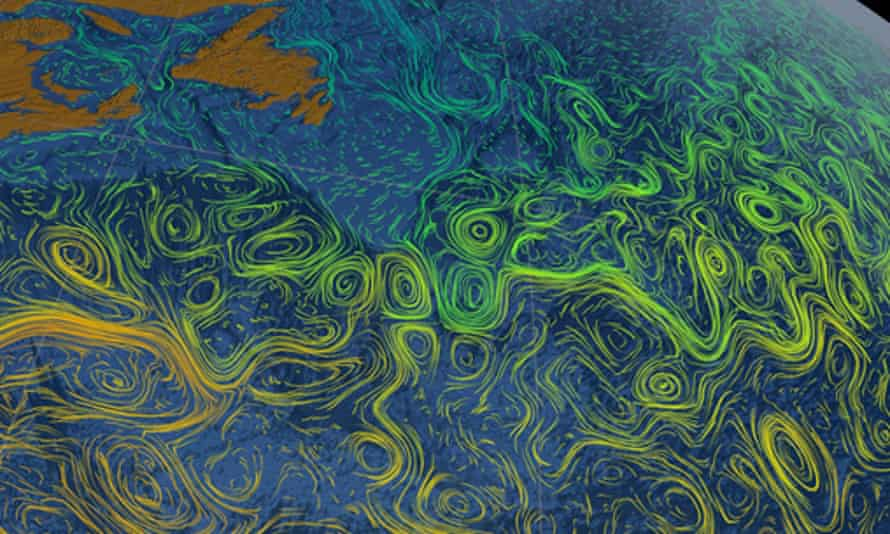 Satellite-based map of visible eddies and currents in the North Atlantic.