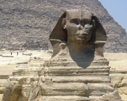 The Sphynx showing 12,500 years of water erosion on the body and the head of a pharoh only a quarter of that age.
