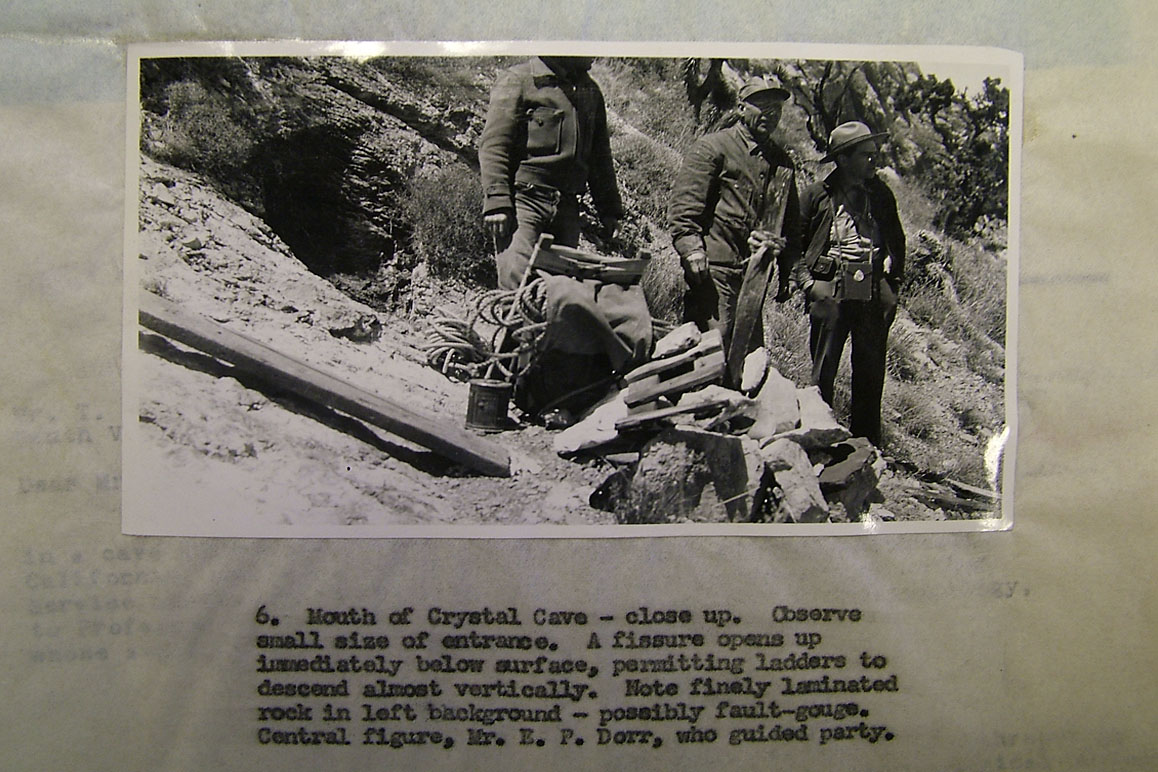 A photograph from the original 1942 NPS investigation report debunking Dorr's alleged Crystal Cave entry point. Dorr, who acted as field guide, is pictured in the center of the group. | Image courtesy Ralph Lewis.