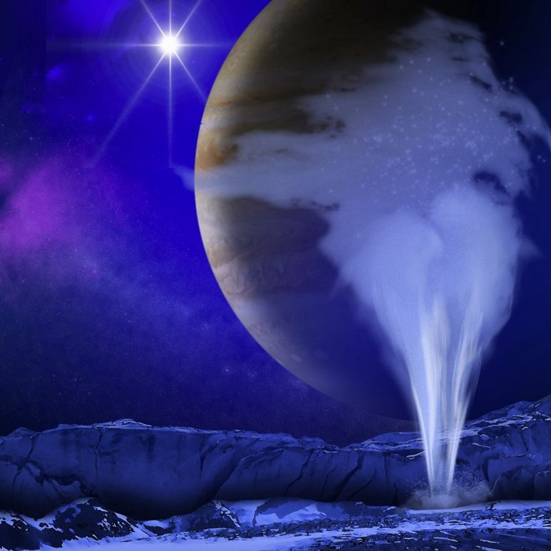 Bright geyser-like vertical spray of water with planet and stars in background.