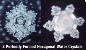 hexagonal torsion-wave structured frozen water crystals