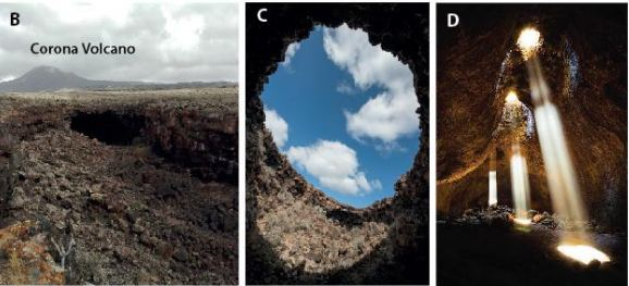 The Corona Volcano on Lanzarote in the Canary Islands. It features lava tubes and skylights that mimic conditions on Mars. Image Credit: Pozzobon et al, 2020.